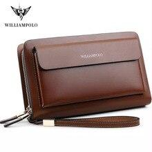 WILLIAMPOLO Luxus Business Solide Doppel reißverschluss Geldbörse Lange Kupplung Tasche männer Brieftasche
