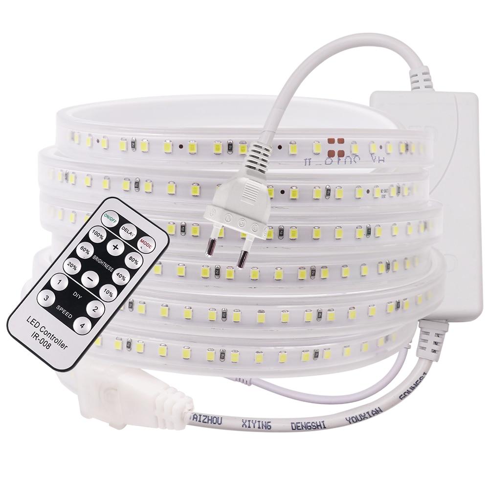 220V Светодиодные ленты светильник 2835 120LED высокое Яркость с регулируемой яркостью гибкая светодиодная лента Водонепроницаемый IP67 Светодиод...
