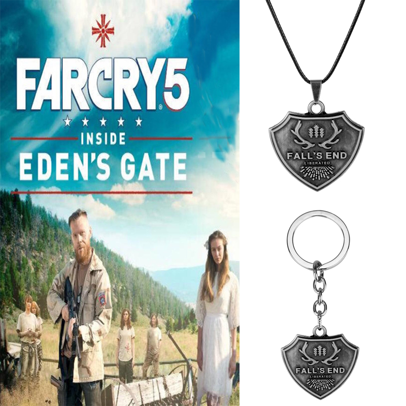 Far Cry 5 FARCRY Necklace Shooting Games keyring Pendant Men Women Car Key Chain Fashion Jewelry image