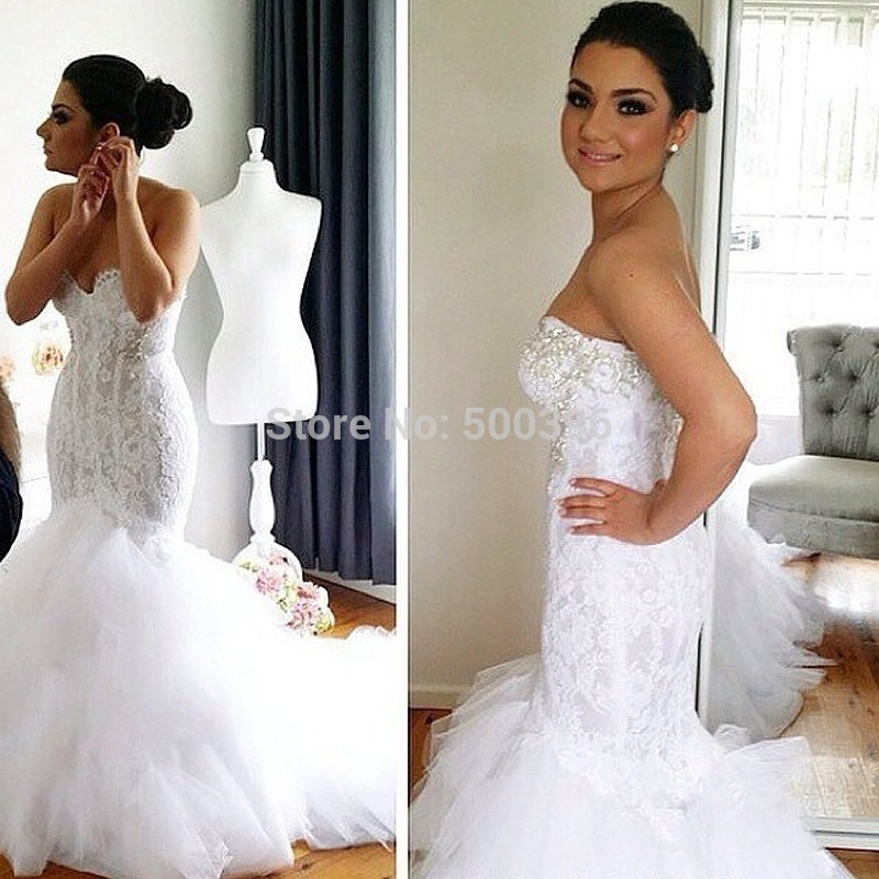 White Lace & Tulle Mermaid Sweetheart Wedding Dress 2018 Vestidos De Noiva Zipper Back Beading Bridal Gowns With Court Train