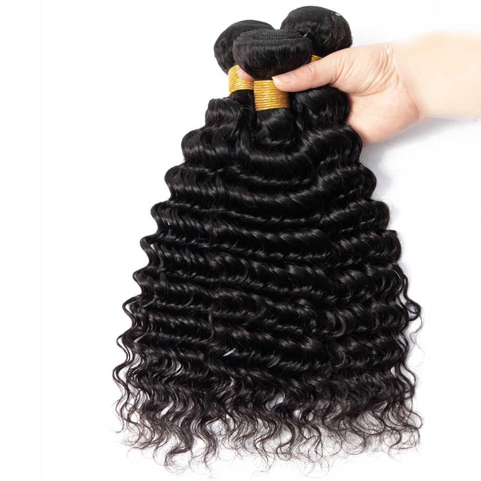 Fashow Braziliaanse Diepe Golf Haar 1/3/4 Bundels Weave 30 32 34 36 Inch 100% Human Hair Natuurlijke Haar dikke Bundels Remy Haar Weeft