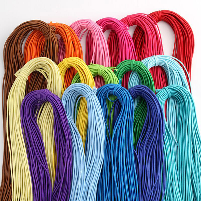 5m/lot 2mm Colorful High-Quality Round Elastic Band Round Elastic Rope Rubber Band Elastic Line Clothes Shorts Sewing Accessorie