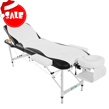 Folding Massage Table Lightweight Couch Bed Professional Aluminium Beauty Tattoo Salon Spa Reiki 3 Section Portable PU Leather