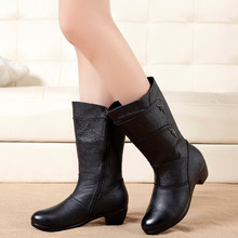 цена на Plus Size Women Snow Boots Fashion Buckle Flat Mid-calf Martin Boots Female Black Lace Up Leather Warm Winter Shoes Women
