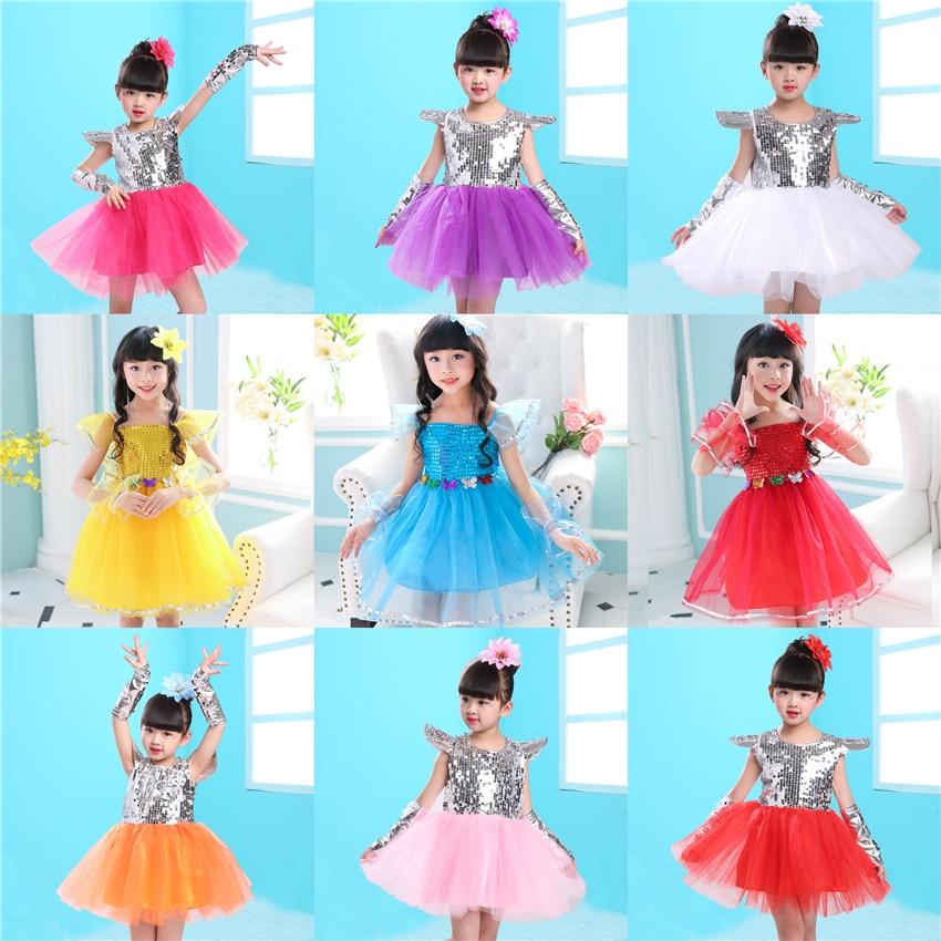 14Color Girls Jazz Dance Kids Dress Sequin Short Sleeve Princess Tutu Mesh Stage Performance Clothing Dj Hiphop Dancing Outfit