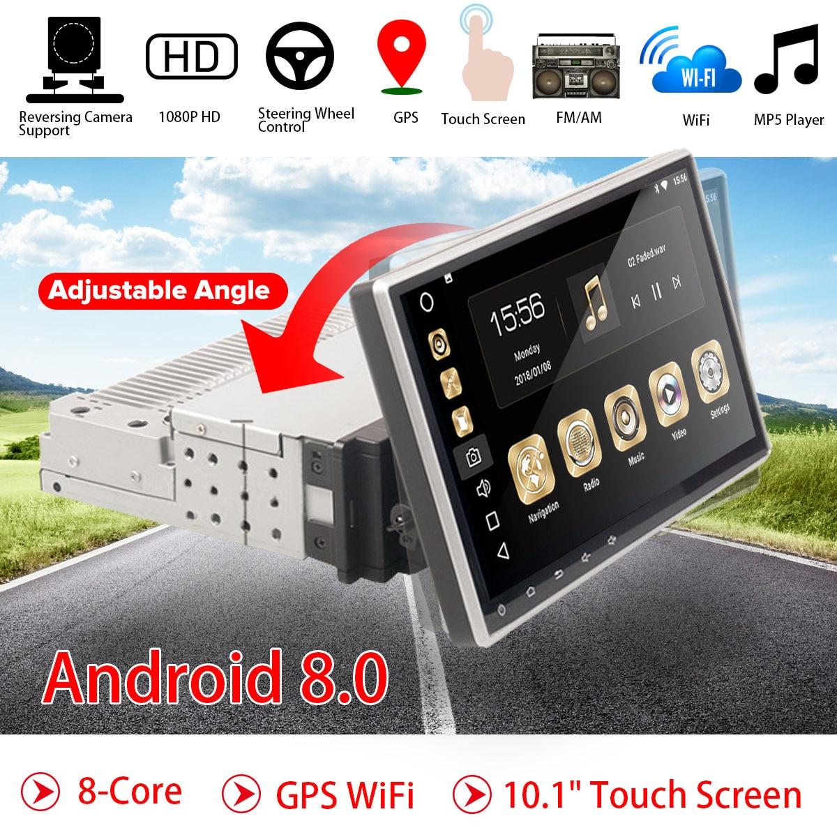 10.1 Android 8.0 autoradio 1 Din 8Core récepteur stéréo GPS stéréo Wifi bluetooth RDS Audio universel voiture lecteur multimédia