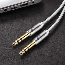 6.35mm to 6.35mm Stereo Cable Nylon Braid 1/4 Inch Male TRS Speaker Amp Cable Jack for Electric Guitar Amplifier Bass Keyboard
