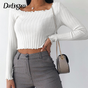 Darlingaga Stripe Knitted Long Sleeve Basic Female T-shirt Solid Bodycon 2020 Autumn T shirt Slim Crop Top Tee Shirt Clothes New