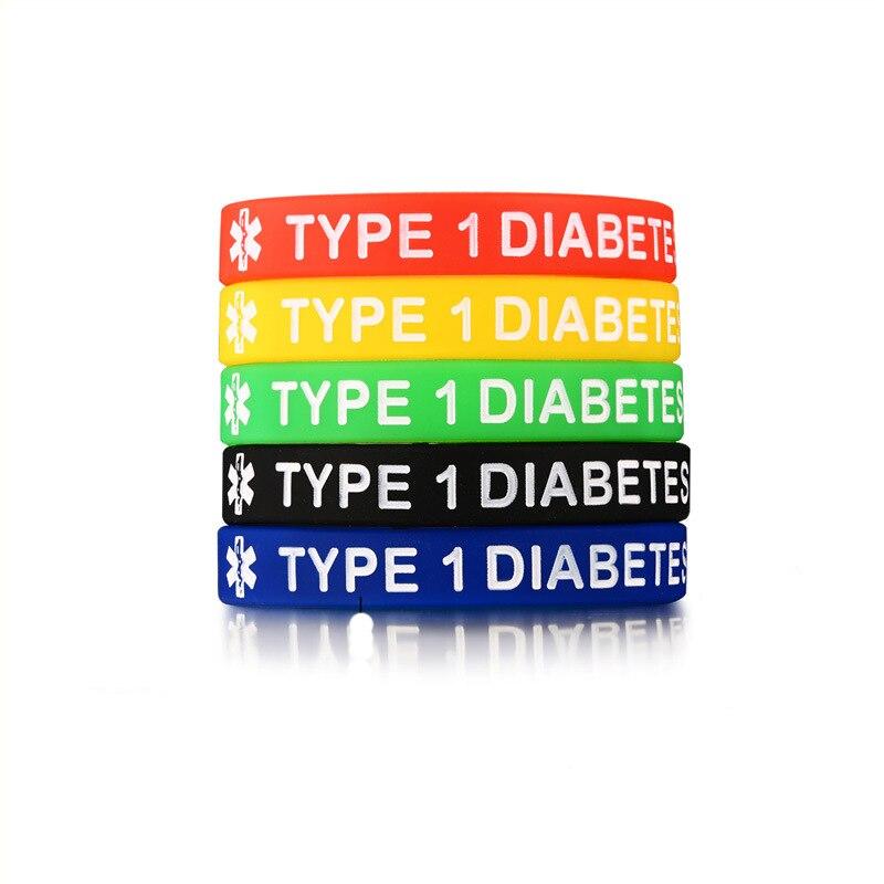 5 шт./компл. силиконовый медицинский браслет для мужчин, женщин, детей, детей, 5 цветов/комплект, тоньше крови, тип 1, браслеты для диабетиков, ю...