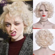 MSIWIGS Lockige Kurze Weiß Blonde Perücken Amerikanischen African Synthetische Afro Rosa Braun Schwarz Gefälschte Haar für Frauen Freies Kappe