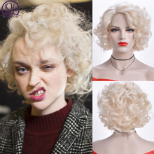 MSIWIGS pelucas onduladas de pelo corto Rubio blanco para mujer, pelo falso Afro sintético africano americano, rosa, marrón y negro, gorra gratis