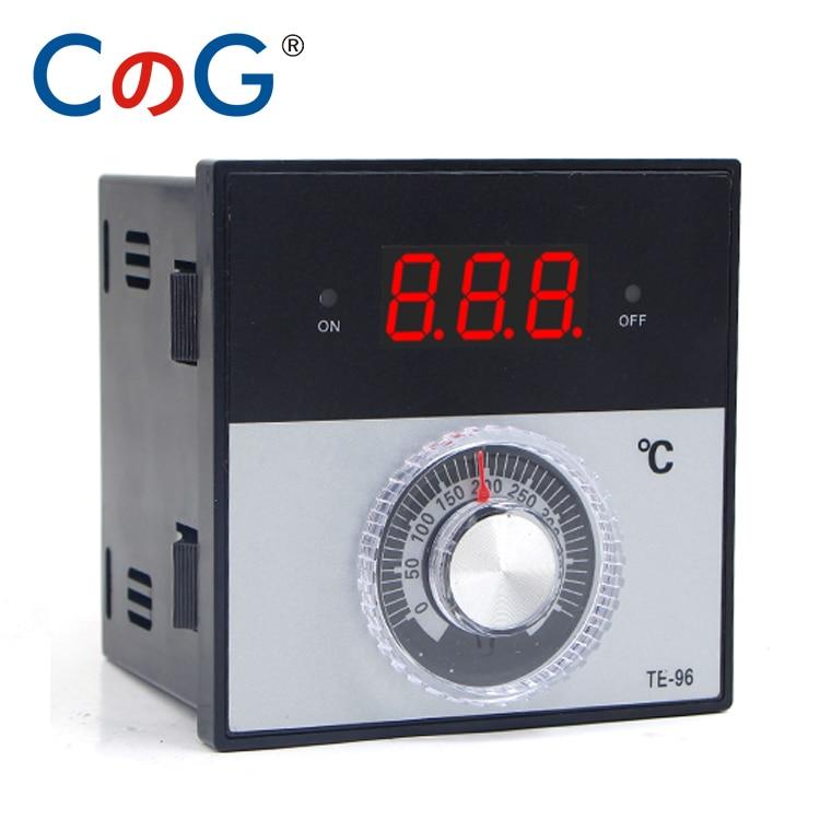 96*96mm Knob AC 220V 380 24V 0-100 400 600 Celsius Degree K J PT100 Type Relay Digital Thermostat Display Temperature Controller