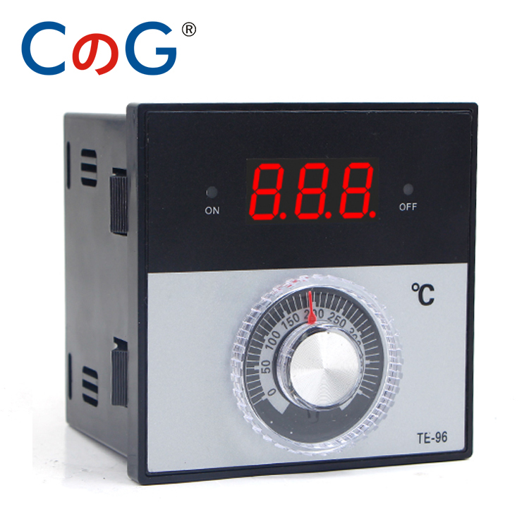 CG 96 96mm Knob AC 220V 380 24V 0- 300 400 1200 Degree K J PT100 Type Relay Digital Thermostat Display Temperature Controller
