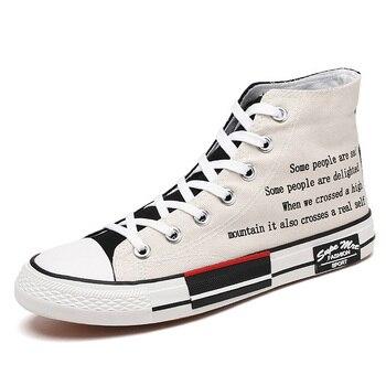 Zapatos escolares para chicos, zapatillas de lona para hombres, zapatillas de lona para hombre, zapatillas deportivas informales de lona, zapatillas de deporte Unisex con letras de moda 2020