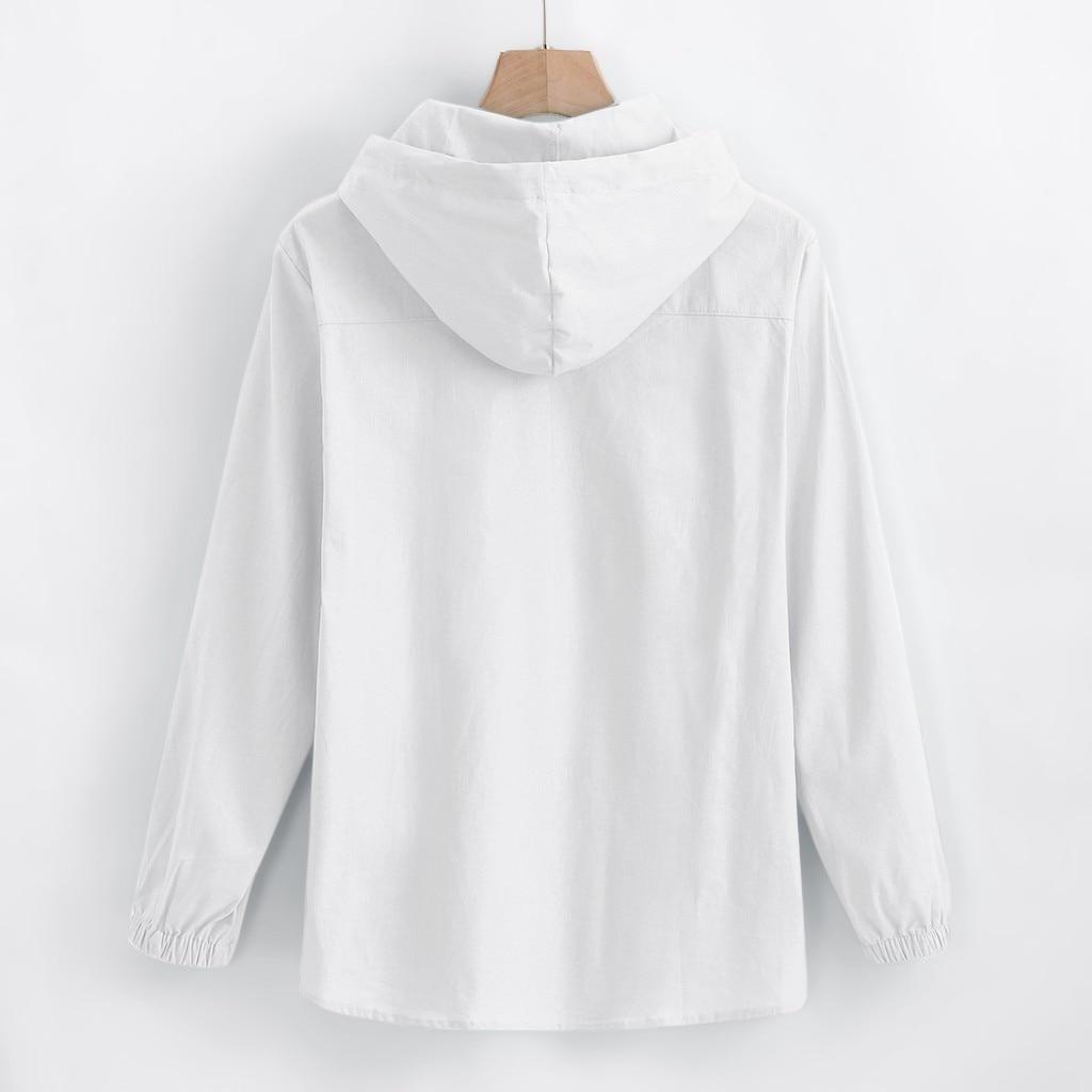 Feitong Long Sleeve Shirt Men's Baggy Cotton Linen Hooded Pocket Solid Retro Shirts Tops