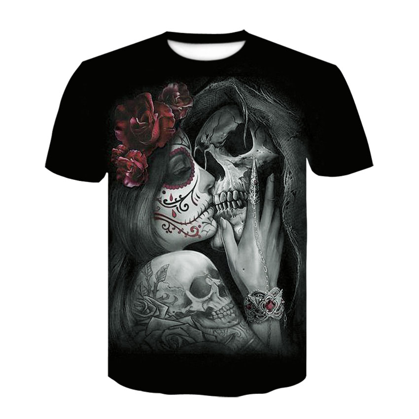 New summer product harajuku printed short-sleeved skulls 3D round neck t-shirts for men and women