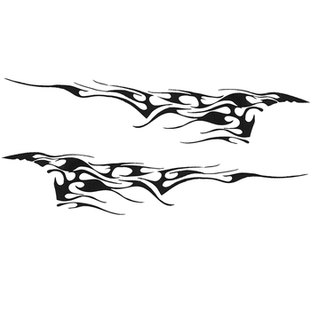 2 PCS Black Flame Car Sticker Graphics Side Door Body Reflective Decals Vinyl Car Sticker image