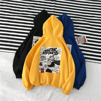 Japanese Embroidery Funny Cat Wave Printed Fleece Hoodies 2019 Winter Japan Style Hip Hop Casual Sweatshirts Streetwear