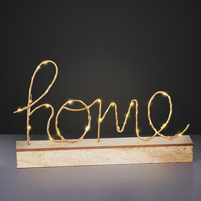 Wooden Base Iron LED Novelty Light Battery Operated Letters Lamp Birthday Party Wedding Christmas Creative Gift Home Decorations