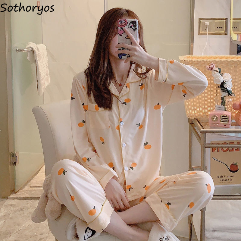 Pajama Sets Women Spring Long-sleeved Simple Soft Plus Size Homewear Sleepwear Womens Ins Korean Style Friends Students Harajuku
