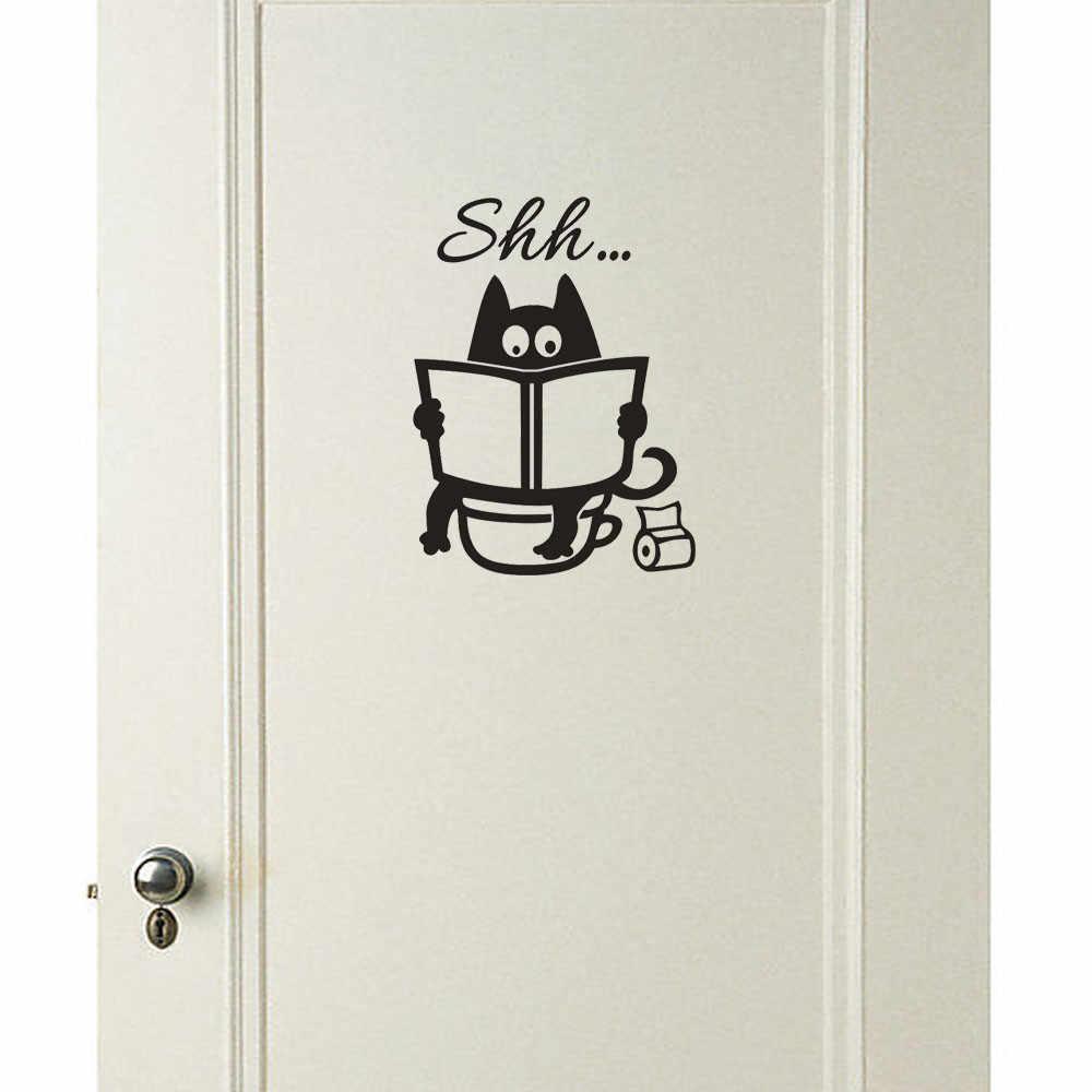 Gato preto engraçado shh assento do toalete adesivos removível arte vinil mural banheiro tanque de carro adesivo de parede casa decoração do quarto adesivos de parede
