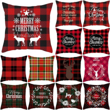 Pillowcase 45 * 45CM Classic Red Plaid Christmas Pillowcase Home Sofa Pillow Cushion Cover Holiday Decoration Pillowcase pillow cover christmas snow man home decoration