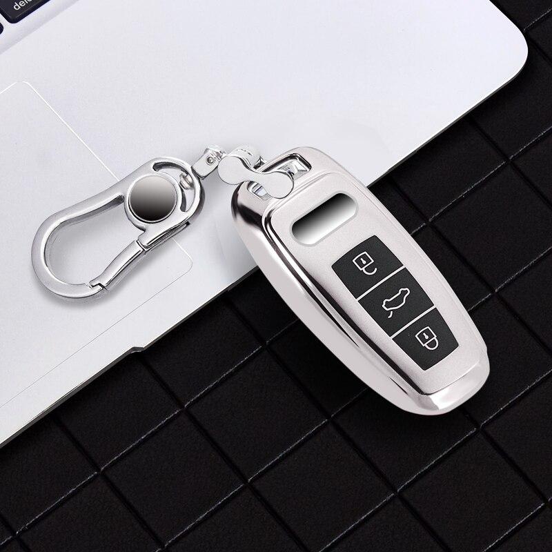 Nouveau Tpu pour Audi etui clés protecteur TPU pour Audi A6L A7 A8 Q8 e-tron C8 D5 2019 2020 voiture clé porte-couvercle coque peau