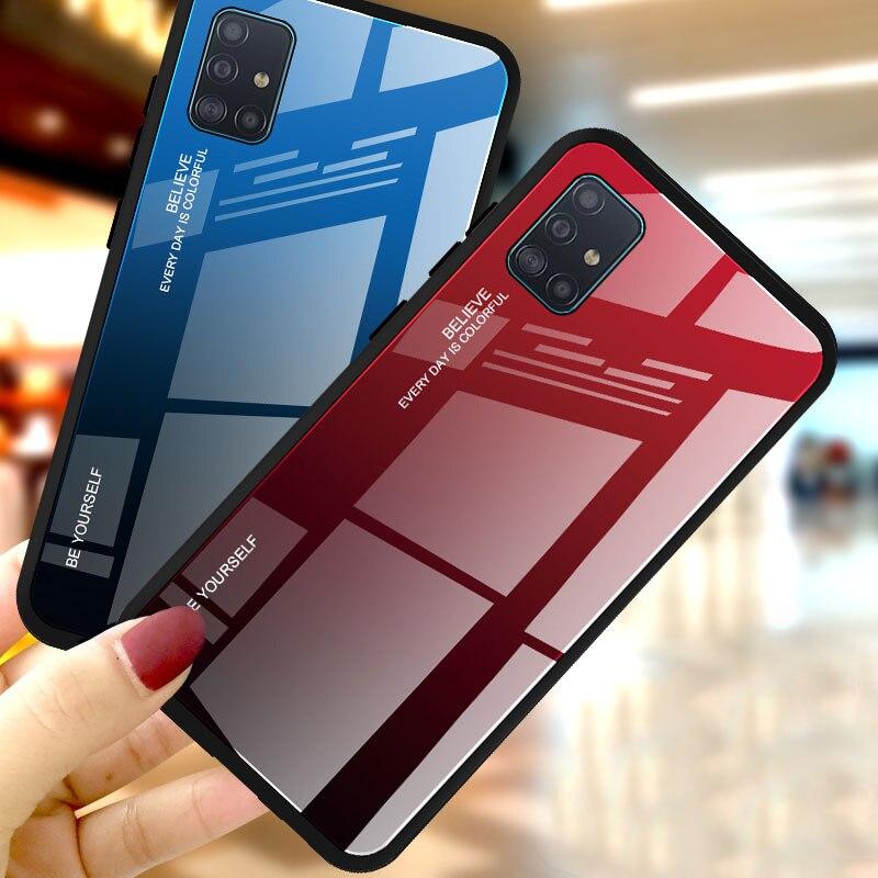 Gradiente de vidro temperado caixa do telefone para samsung galaxy a50 a70 a51 a71 caso para samsung a50 a 50 fundas coque sm a70 capa traseira