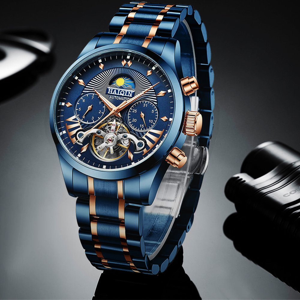 HAIQIN 2020 Automatic Men's Watches Top Brand Luxury Men Watch Blue Mechanical Wristwatch Men Waterproof Reloj Hombre Tourbillon