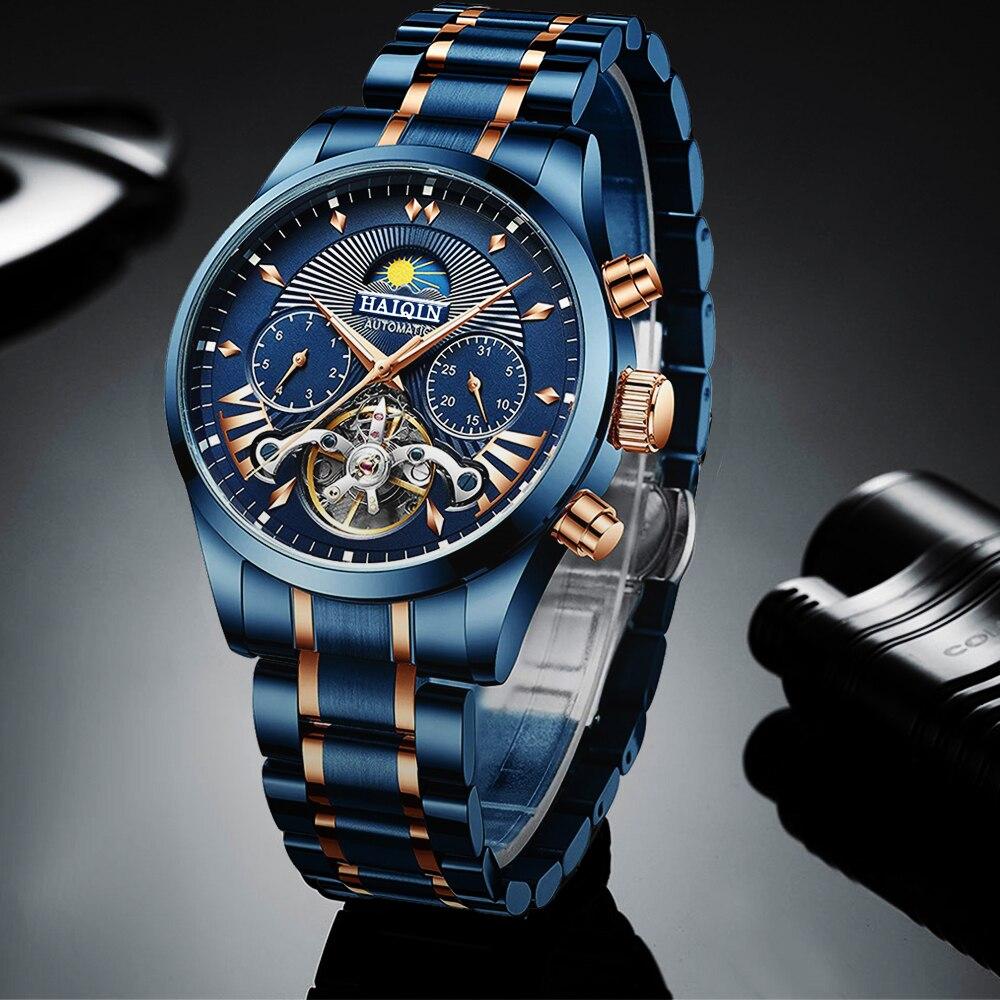 Haiqin 2020 relógios masculinos automáticos marca superior relógio de luxo azul relógio de pulso mecânico masculino reloj hombre tourbillon à prova dwaterproof água