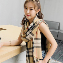 Classic British plaid cotton scarf girls spring and autumn summer students long