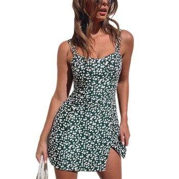 Mujer Sexy Split Suspender Mini Vestido de verano de moda señora chica fuera del hombro espalda descubierta Vestido corto Floral Vestido femenino