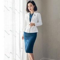 Women's suits set Women's slim suits set 2 piece white suit jacket with blue dress women's casual professional wear
