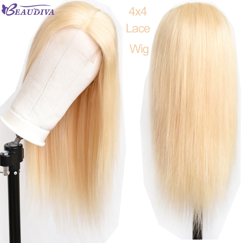 Malaysian 613 Blonde Lace Closure Human Hair Wigs With Baby Hair Pre Plucked Remy Straight 4*4 Closure Wigs Natural Hairline-in Human Hair Lace Wigs from Hair Extensions & Wigs    1