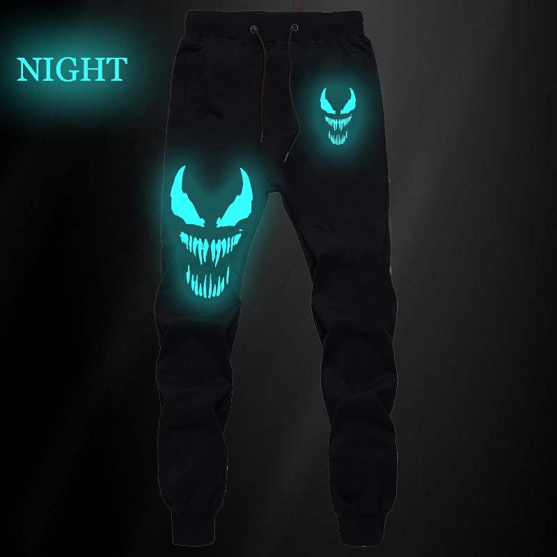 Venom Superhero Luminous Mens Pants Joggers Bodybuilding Fitness Gyms Sweatpants Autumn Winter Sportswear Trousers Harem Pants