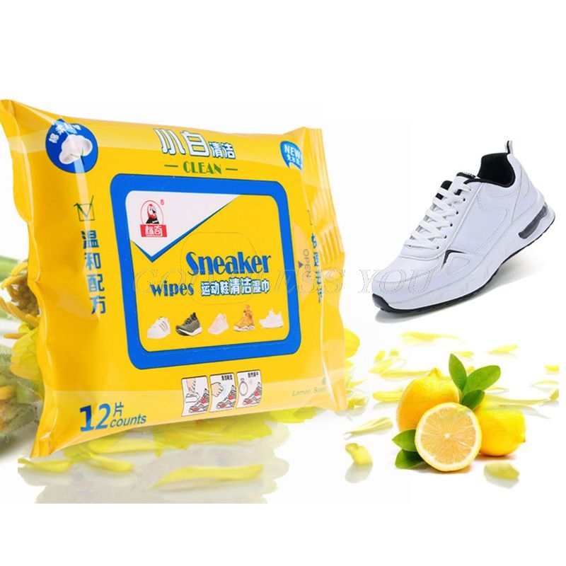 12 Counts/Bag Travel Portable Disposable Sneaker Wet Wipes Leather Shoes Sandals Cleaning Tissue Marks Eraser