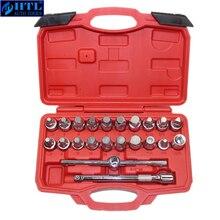 22Pcs Olie Afvoerpijp Plug Socket Set Schroeven Removal Tool Driehoek Vierkante Hexagon T Bar Remover Mouwen Speciale gereedschap