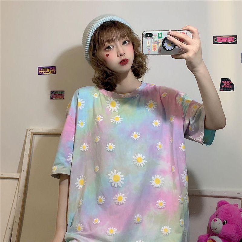 Женские топы с принтом маленькой маргаритки, футболка с принтом tie dye, корейские футболки, летние модные футболки с коротким рукавом, одежда ...