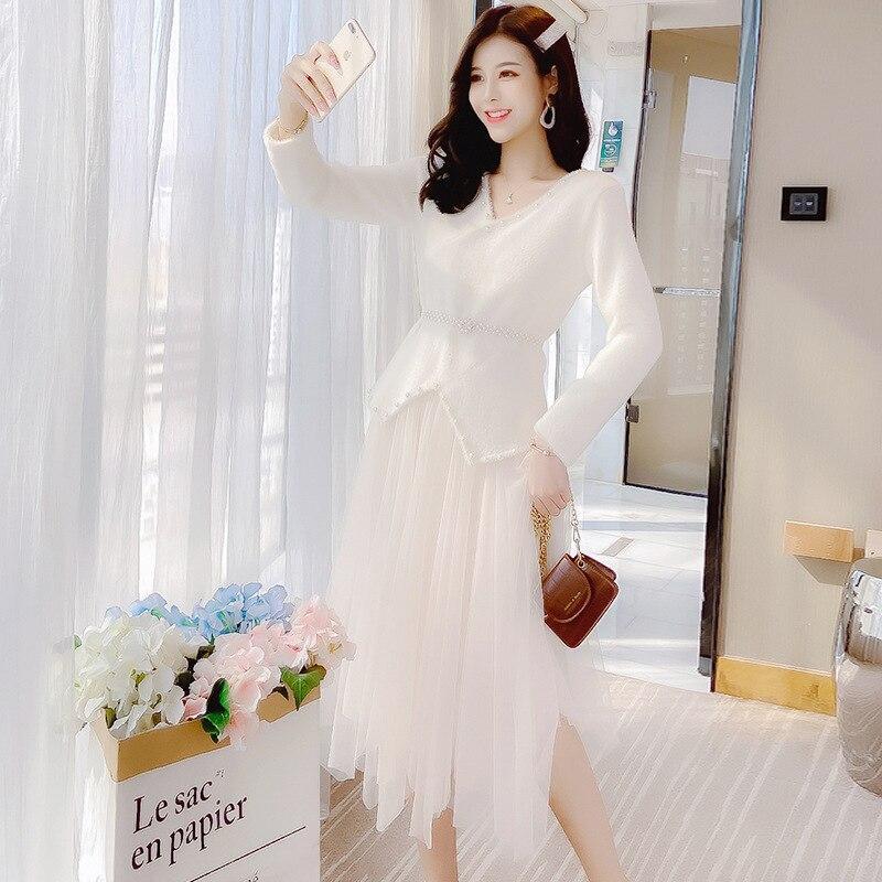 2020 Spring New Products Pullover V-neck Mink Cashmere Beads Elegant Slim Fit Mesh Dress Women's Mid-length Set