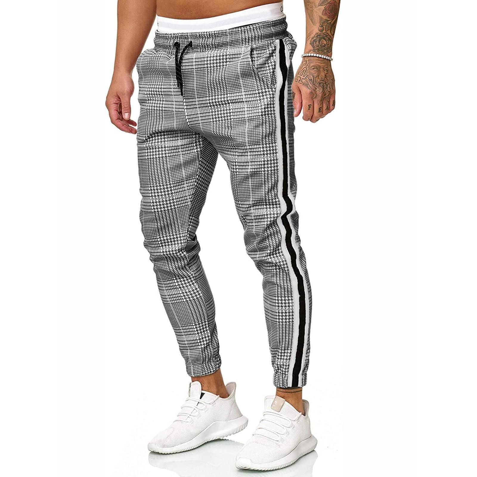 Новый спортивный Штаны Для мужчин карман с клетчатым принтом бег Штаны спортивный для футбола, штаны для тренировок, спортивные Штаны эласт...