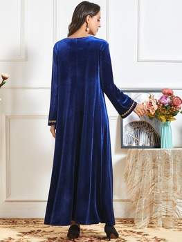 Elegant Velvet Muslim Dress Women Big Swing A line Maxi Dress Embroidery Jubah Long Robe