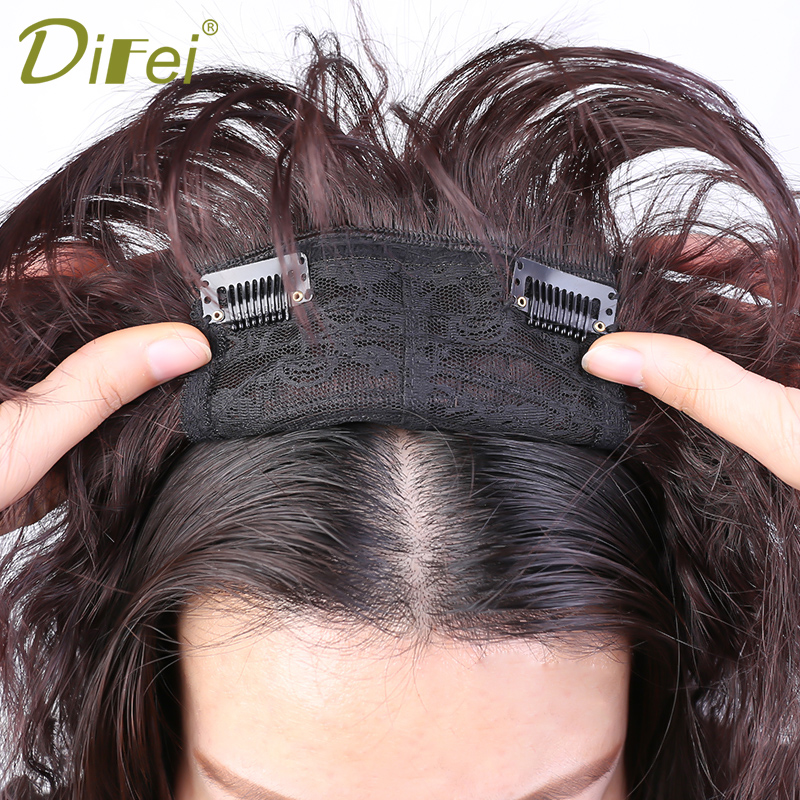 DIFEI  Women Corn Beard Natural Color Curly Hair Bang Fringe Top Closures Hairpins  Synthetic Hair Clip In Toupee Hairpieces