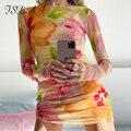 FSDA Mesh 2021 Floral Print Langarm Kleid Frauen Sexy Sehen Durch Sommer Frühling Y2K Strand Party Mini Bodycon Kleider