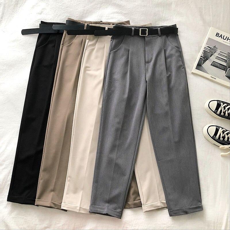 High Waist Women Pants Casual Loose Vintage With Sashes Suit Pants Korean Black Curl Harem Pants