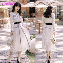 2019 early autumn new Japanese style temperament high waist long white lace dress