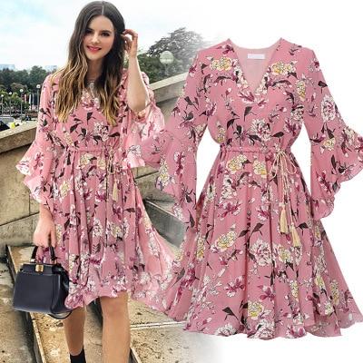 Chiffon High Elastic Waist Party Dress Bow A-line Women Butterfly Sleeve Flower Print Floral Boho Dress Female Vestido Plus Size
