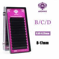 Abonnie New 16/17mm All Size B/C/D/J curl 1 trays ,Individual natural Mink Eyelash Extension. Artificial Fake False Eyelashes