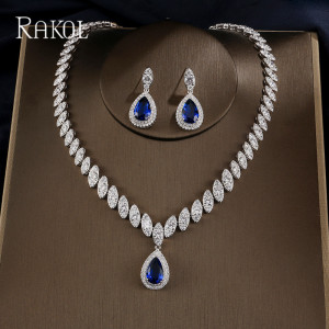 Image 4 - RAKOL Dubai Luxury Water Drop Cubic Zircon Necklace Earrings Bridal Sets for Women Shinny Crystal Wedding Party Dress Jewelry