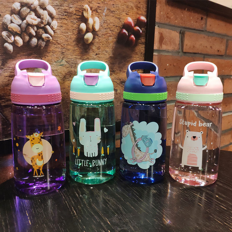 450/480ML BPA Free Cartoon Water Bottle With Straw Sport Bottle Hiking Climbing Bottle for Water My Children Healthy Drinking