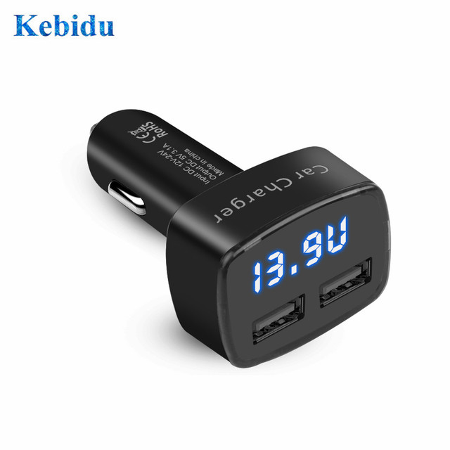 Dual USB Car Charger 4 in 1 Thermometer Digital Display Charging Cigarette Lighter Car Charger Digital Display For Mobile Phone